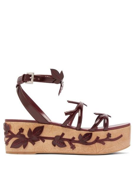 Prada - Floral Appliqué Flatform Leather Sandals - Womens - Burgundy