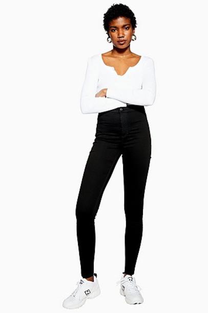 Topshop Pure Black Joni Jeans - Black