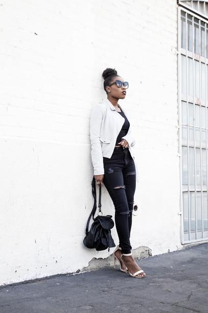locks and trinkets blogger black jeans white jacket black top ripped jeans sandal heels black backpack backpack sandals black girls killin it white sandals