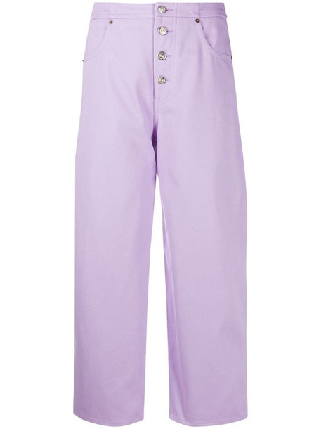 MM6 Maison Margiela cropped high-waisted jeans in purple