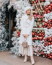 coat,white coat,heel boots,midi skirt,handbag,headband