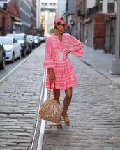dress,mini dress,pink dress,fringes,slide shoes