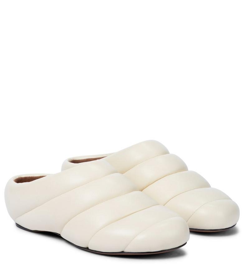 Proenza Schouler Puffy Rondo leather slippers in beige