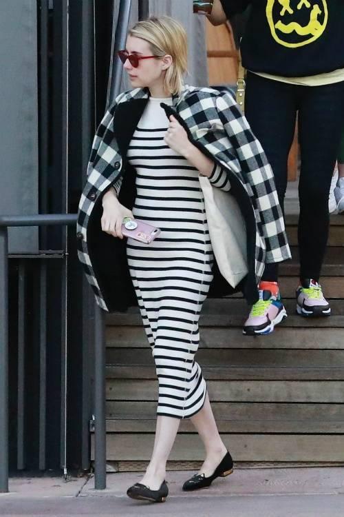 jacket black and white plaid dress midi dress stripes striped dress emma roberts fall outfits