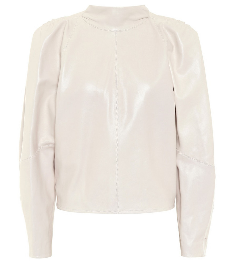 Isabel Marant Caby leather blouse in beige