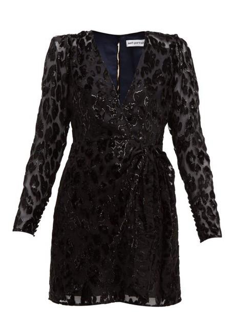 Self-portrait - Leopard Devoré Mini Dress - Womens - Black Navy