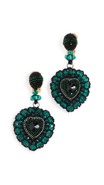 Oscar de la Renta Emb Heart Earring in emerald