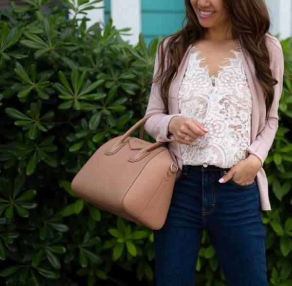 stylish petite blogger top jacket jeans shoes bag handbag givenchy bag spring outfits