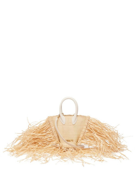 Jacquemus - Baci Fringed Straw And Leather Bag - Womens - Beige