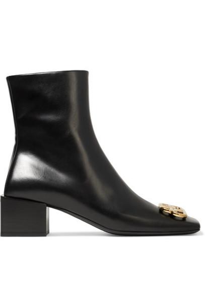 Balenciaga - Embellished Leather Ankle Boots - Black