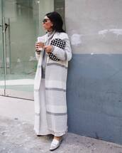 sweater,turtleneck sweater,knitted sweater,long coat,free people,loafers,silver shoes,white skirt,maxi skirt,handbag,black and white