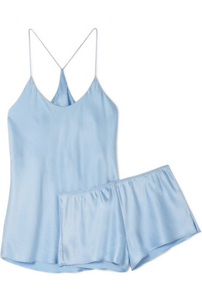Olivia von Halle - Bella Silk-satin Pajama Set - Light blue