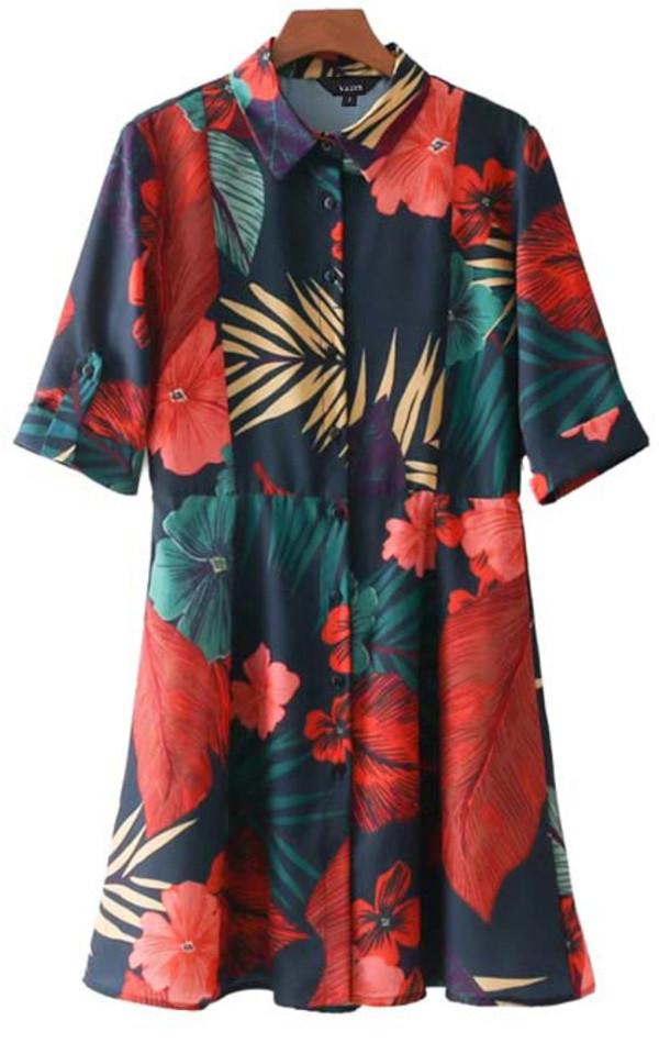dress floral button up tunic summer spring break