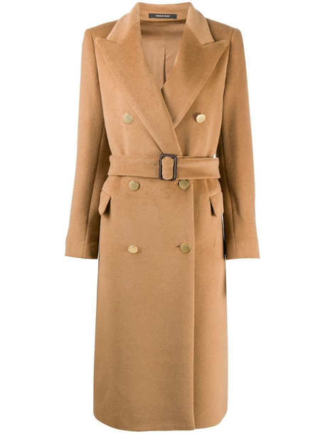 Tagliatore belted double breasted coat in brown