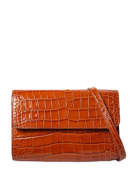 BY FAR Crossover Croc Embossed Leather Bag in tan