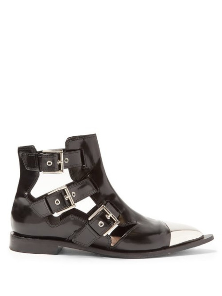 Alexander Mcqueen - Cut Out Leather Ankle Boots - Womens - Black