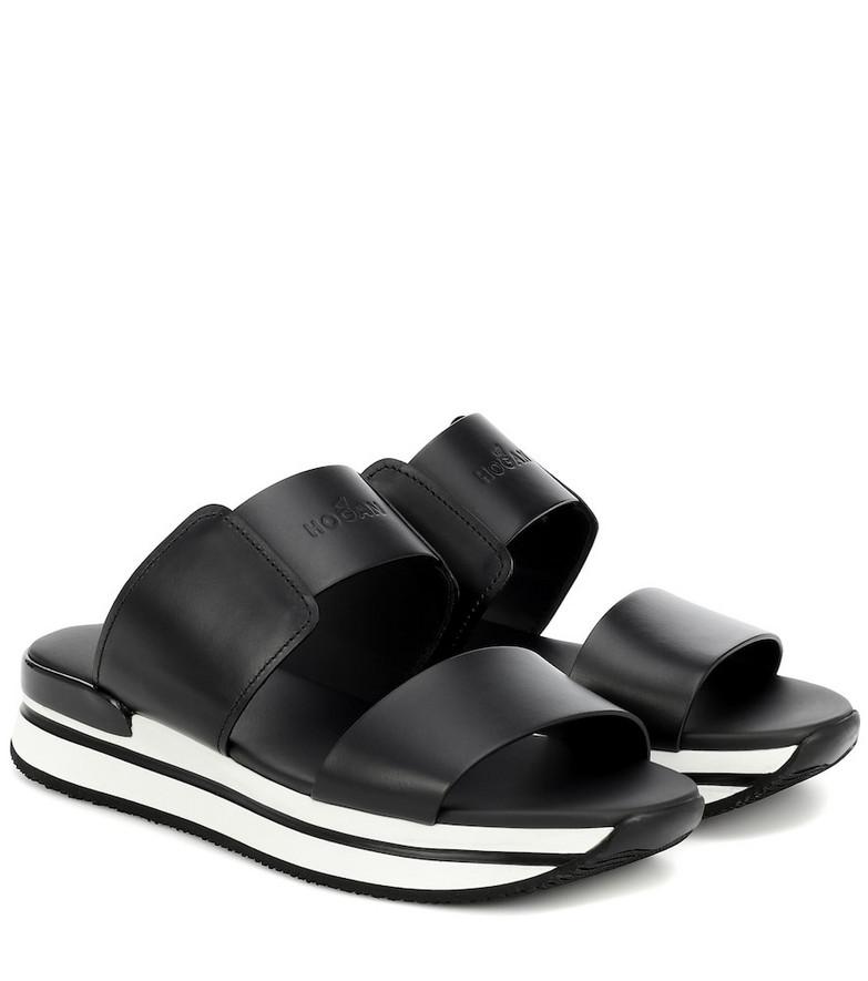 Hogan H257 leather sandals in black