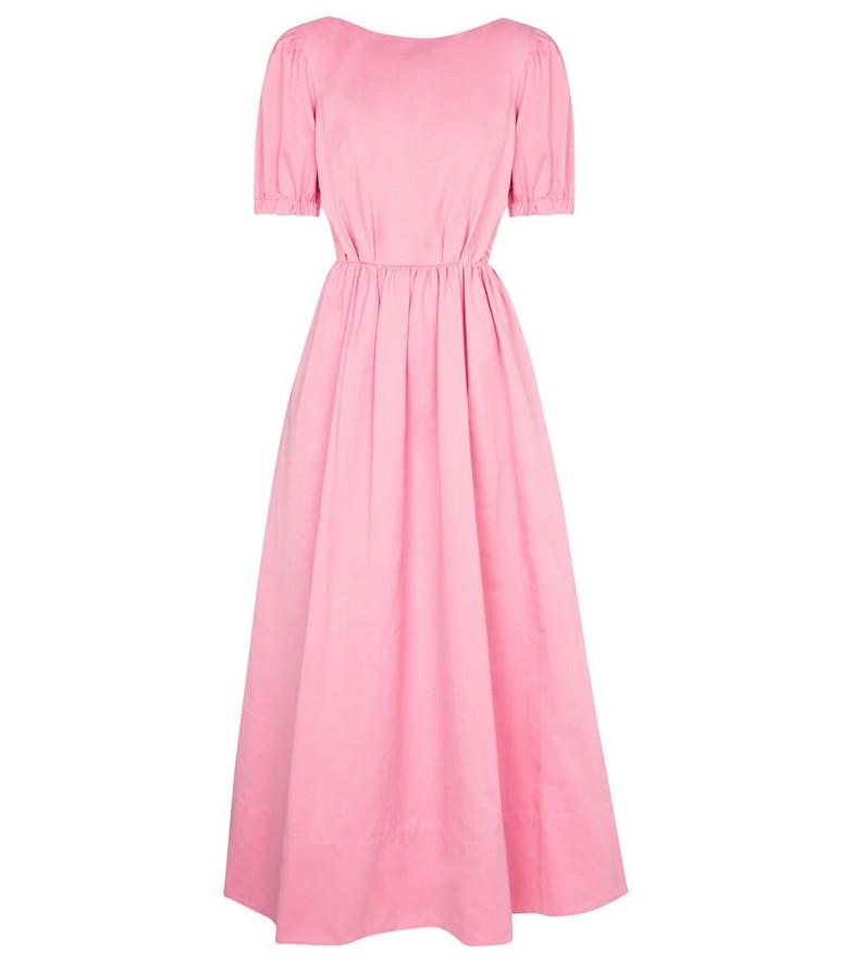 Staud Alix cotton-blend faille maxi dress in pink