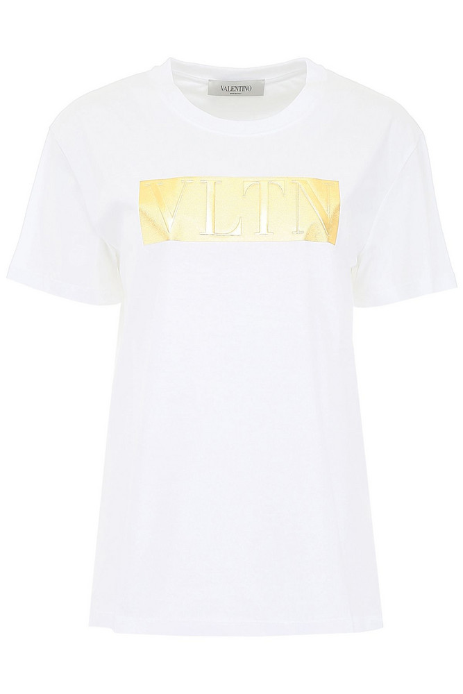 Valentino T-shirt With Laminated Logo in bianco