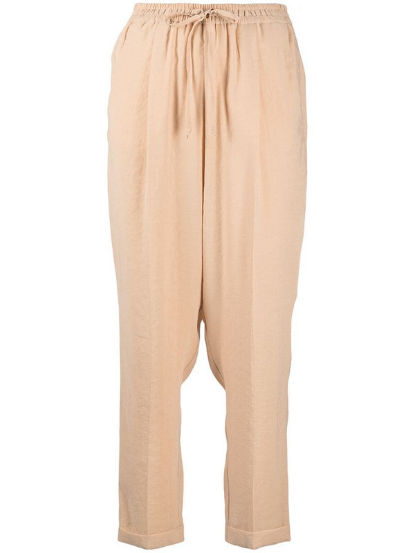Alysi high-rise drawstring tapered trousers in neutrals
