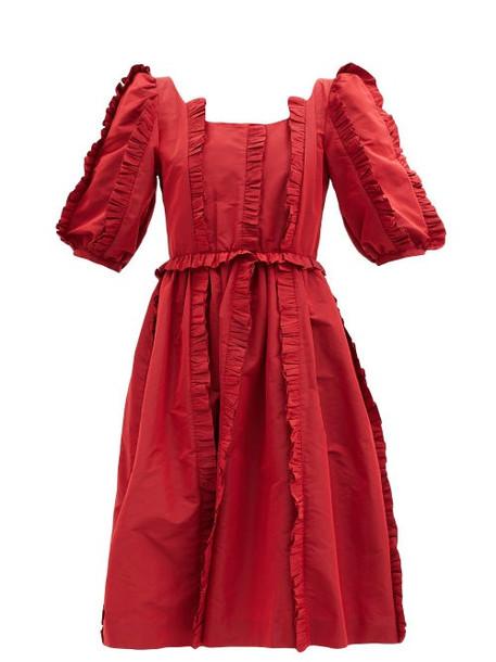 Shrimps - Gabriel Flared Ruffled-taffeta Midi Dress - Womens - Red
