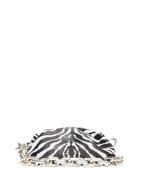 Bottega Veneta - The Pouch Zebra-print Leather Shoulder Bag - Womens - Black White