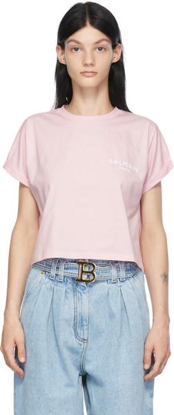Balmain Pink Cropped Logo T-Shirt in rose