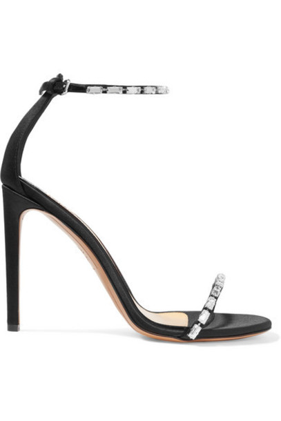 Alexandre Vauthier - Carla Crystal-embellished Satin Sandals - Black