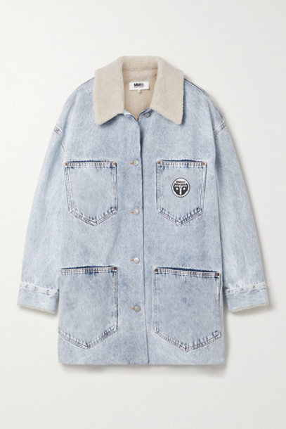 MM6 Maison Margiela - Oversized Faux Shearling-trimmed Acid-wash Denim Jacket - Light denim