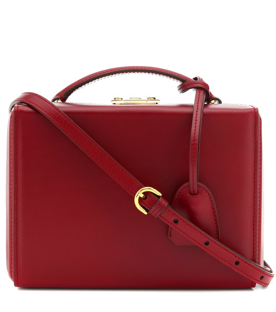 Mark Cross Grace Small Box leather shoulder bag in red