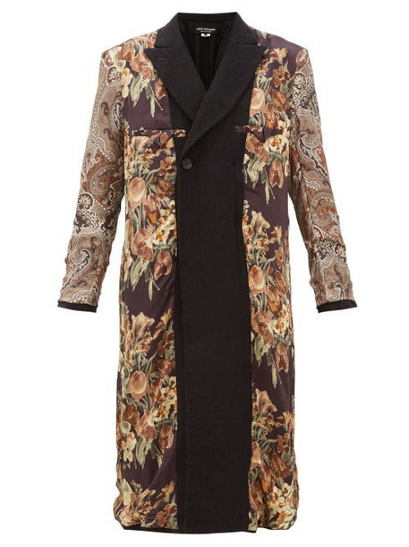 Junya Watanabe - Reversible Printed Silk And Wool Coat - Womens - Black Multi