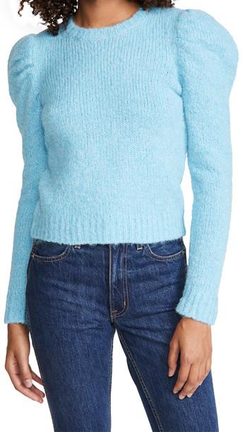 Derek Lam 10 Crosby Locken Puff Sleeve Sweater in blue