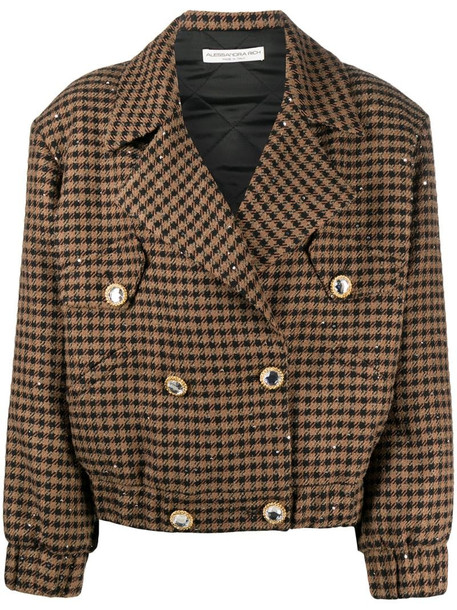 Alessandra Rich sequin houndstooth bomber jacket in brown