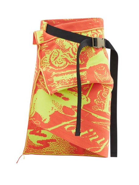 Matty Bovan - Asymmetric Cotton-jacquard Wrap Skirt - Womens - Orange Multi