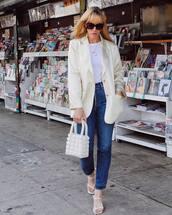 jacket,blazer,high waisted jeans,straight jeans,white sandals,white bag,handbag,white t-shirt