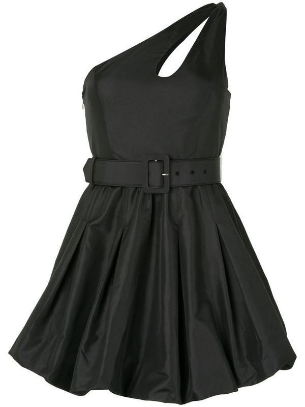 Self-Portrait one-shoulder puffball mini-dress in black