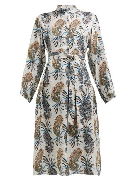 Etro - Meadows Paisley Print Shirtdress - Womens - Grey Multi