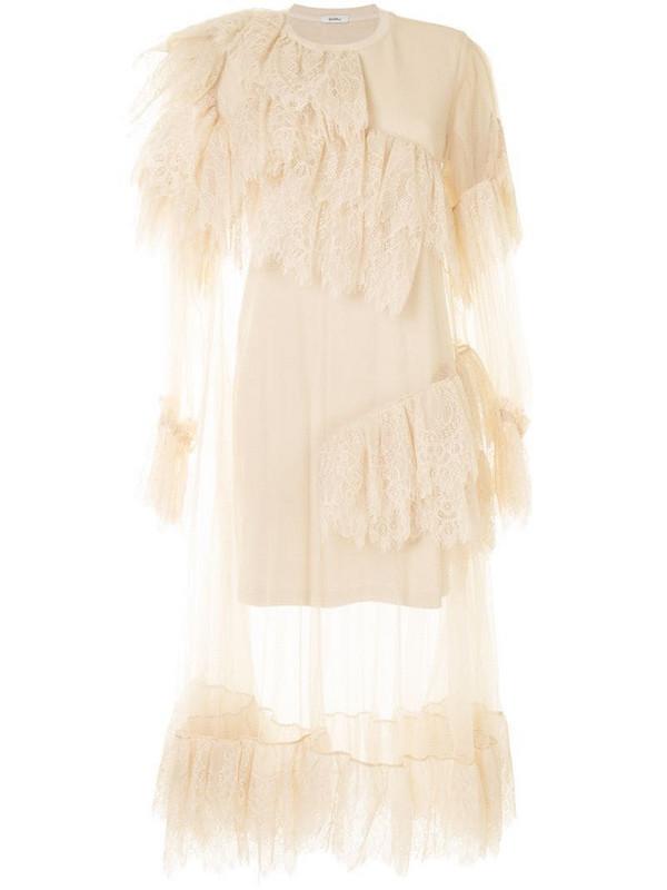 Goen.J ruffled lace trim layered dress in neutrals