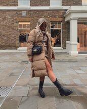 coat,long coat,prettylittlething,puffer jacket,black boots,turtleneck dress,sweater dress,black bag