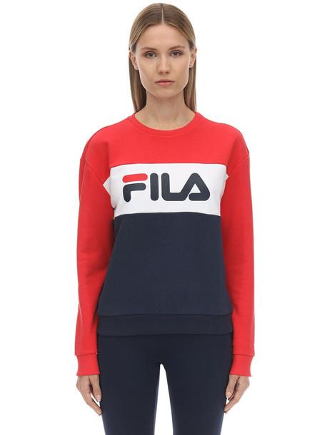 FILA URBAN Logo Cotton Blend Sweatshirt in navy / red / white