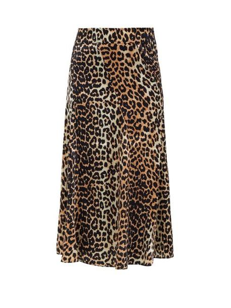 Ganni - Blakey Leopard Print Silk Blend Skirt - Womens - Leopard