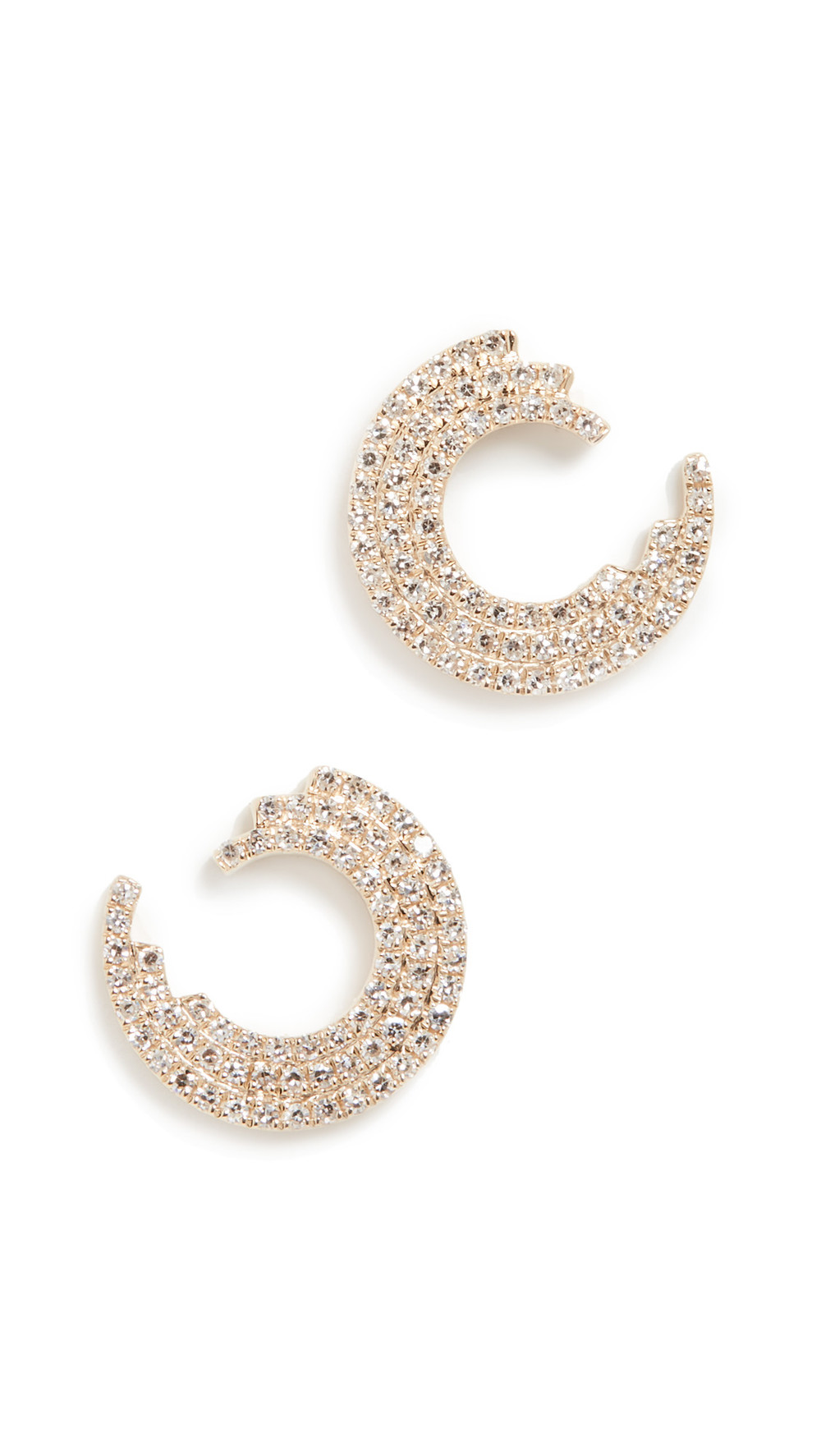 EF Collection 14k Diamond Willow Stud Earrings in gold / yellow