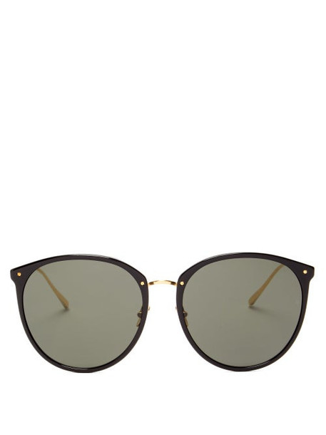 Linda Farrow - Kings Round Acetate & 18kt Gold-plated Sunglasses - Womens - Black Gold