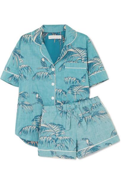 Desmond & Dempsey - Printed Cotton-voile Pajama Set - Turquoise