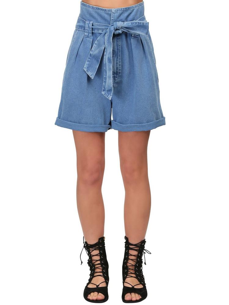 TEMPERLEY LONDON High Waist Cotton Denim Shorts in blue