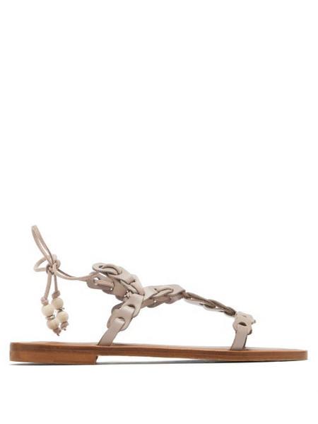 Álvaro Álvaro - Akiona Ankle-tie Leather Sandals - Womens - Beige