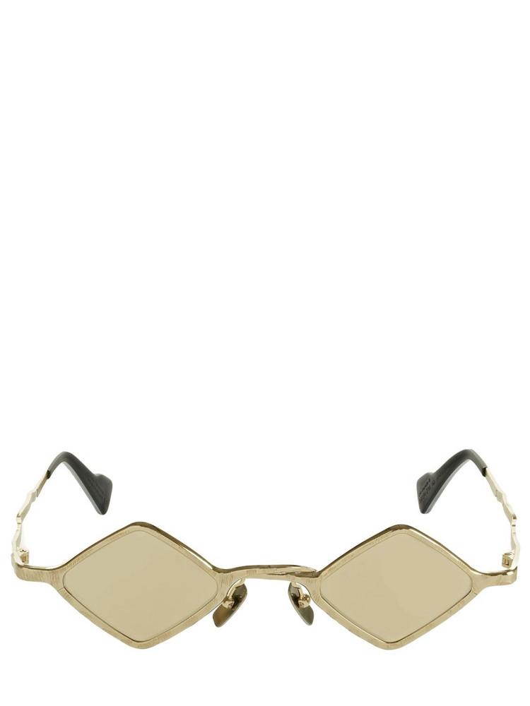 KUBORAUM BERLIN Z14 Diamond Shape Metal Sunglasses in gold / ivory