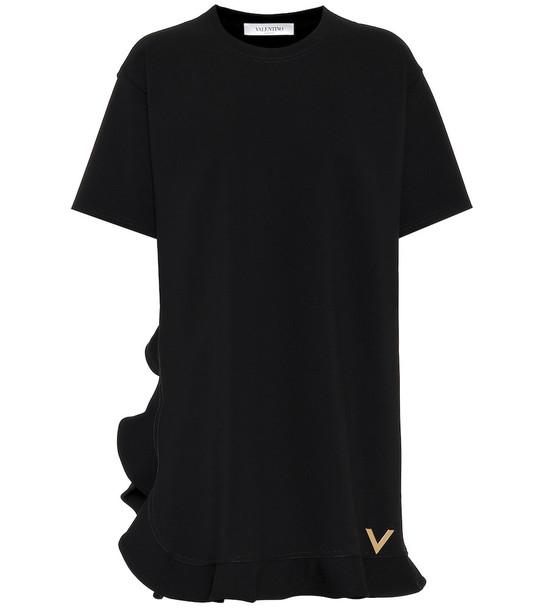 Valentino Ruffled stretch knit minidress in black