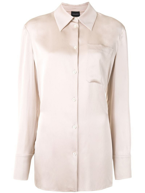 Magda Butrym long sleeve silk shirt in neutrals