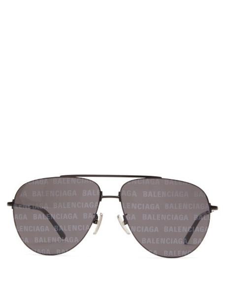 Balenciaga - Invisible Xxl Monogram-print Aviator Sunglasses - Womens - Black Multi